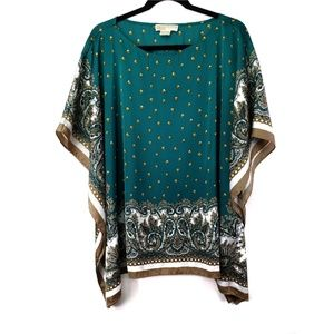 MICHAEL Michael Kors Green & Gold Boho Blouse 2X